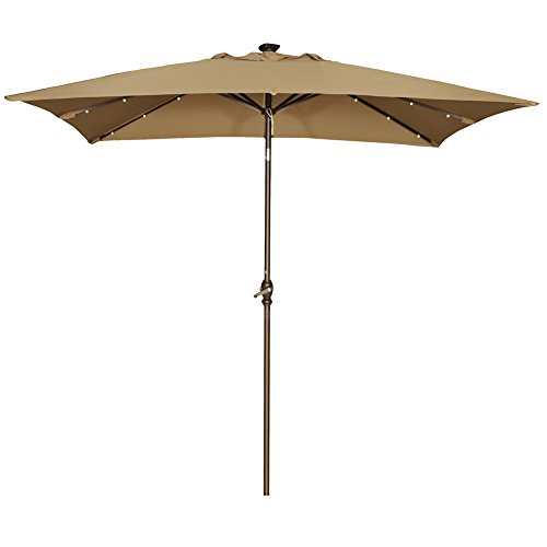 Abba Patio 9 by 7 Feet Rectangular Patio Umbrella with Solar Powered 32 LED Lights with Tilt and Crank, Brown (Base Lb Patio 75 Umbrella)