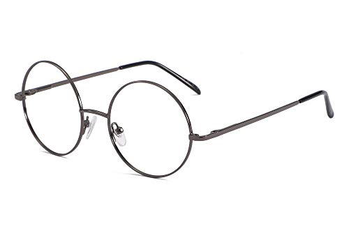 SOOLALA Cool Retro Round Metal Frame Spring Hinged Reading Glasses for men and Women, Grey, 1.0D ()