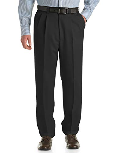 Oak Hill by DXL Big and Tall Waist-Relaxer Pleated Microfiber Pants (60 X 32, Black) -