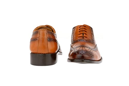 Liberty Men's Brogue Perforated/Burnished Toe Handmade Leather Wing-tip Lace up Oxford Dress Shoes Tan great deals cheap online best wholesale online cheap sale official site discount visit new K8Kyu