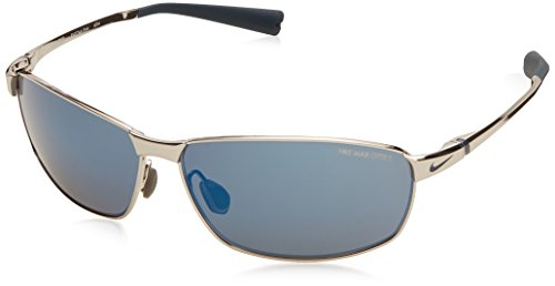 Nike Tour Sunglasses, Chrome/Squadron Blue, Grey with Blue Flash - Sunglass Nike Case