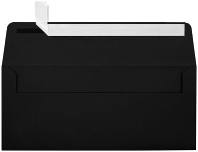 #10 Square Flap Envelopes w/Peel & Press (4 1/8 x 9 1/2) - Black Linen (50 Qty.) | Business | For Checks, Invoices, Letters & Mailings | Printable | 80lb Text Paper | 4860-BLI-50 by LUXPaper