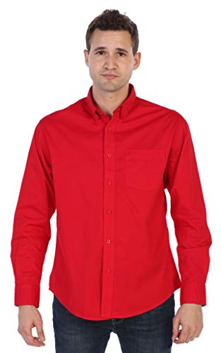 Gioberti Mens Long Sleeve Casual Twill Shirt, Red, Large