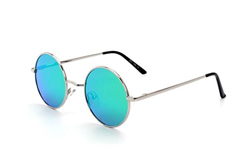 Frame Plata Punk Sunglasses Classic Hippy Frame Retro de Diseño Metal Verde Round primavera PAwxq0