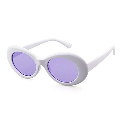 Bold Retro Oval Mod Thick Frame Sunglasses Clout Goggles with Round Lens (White/Purple lense, - Glasses Frames Sell