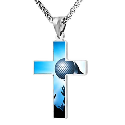 Gjghsj2 Cross Necklace Star Moment Cross Pendant Religious Jewelry Sets Cross Chain Chokers for Men Women ()