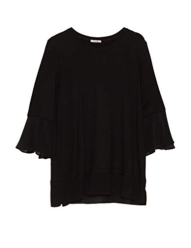 negro Mirò Negro Elena T Con shirt 33 In Para Camiseta Georgette Mujer Bordi Pw6dq1Ax