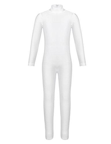 YiZYiF Kids Little Girls Boys Spandex Long Sleeve Full Body Unitard Skin Tight Dance Costumes Ivory 7-8