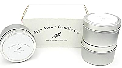 BRYN MAWR CANDLE COMPANY Set of 3 Scented Aromatherapy Travel Tin Candles, Scents Included are Lilac, Hydrangea, and Tobacco Bergamot Ylang