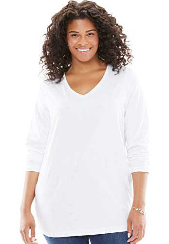 Woman Within Women's Plus Size Perfect V-Neck Long Sleeve Tee - White, 1X