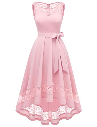 Gardenwed Women's Vintage Cocktail Dresses Lace Bridesmaid Dresses High Low Evening Dresses for Party Wedding Pink XL