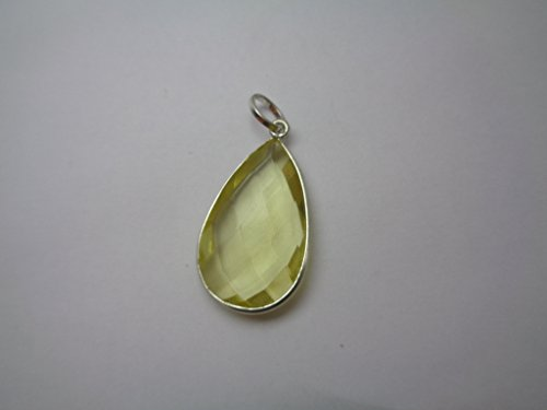Lemon Quartz Teardrop Pendant, Silver Filled Pendant, Gift for Her, Thanksgiving - Quartz Drop Lemon