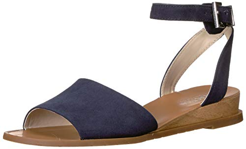 Kenneth Cole REACTION Women's Jolly Low Wedge Sandal with Ankle Strap Flat, Navy, 10 M US