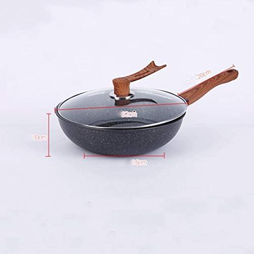 Poêle antiadhésive Non-Stick Fry Pan, revêtement de granit noir Pot, poignée en bois comme, marbre Pancake induction Batterie de cuisine 32cm.