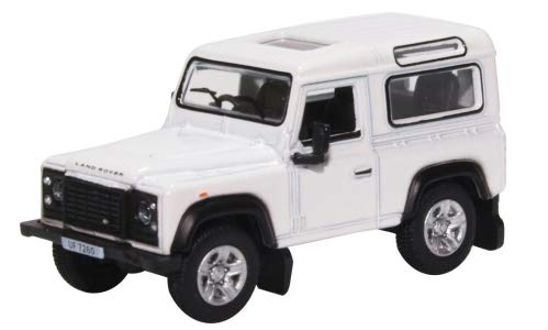 Land Rover Defender 90 Station Wagon, White, 0, Model Car,, Oxford 1:76