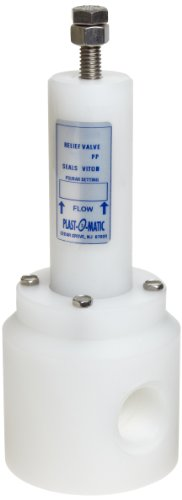 (Plast-O-Matic RVT Series Polypropylene Relief Valve, For Acids and Highly Corrosive Liquids, 5-100 psi Pressure Range, 1/2