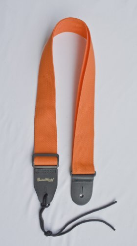 Guitar Strap Orange Nylon Solid Leather Ends Fits All Acoust