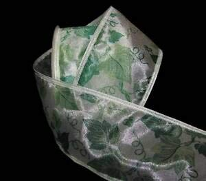 (5 Yards Ivy Vines Garden Leaves Ivory Sheer Wired Ribbon 2 1/2