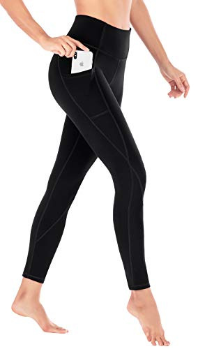 Heathyoga Yoga Pants Extra Soft Leggings with Pockets for Women Non See-Through Stretchy High Waist Girls' Workout Leggings (H7521 Black, Small)