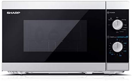 Sharp YC-MG01ES – Forno a microonde 20 litri con funzione grill, 800W potenza microonde e 1000W potenza Grill, 5 livelli di potenza, timer, piatto girevole incluso, argento