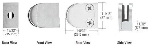 (CRL Satin Stainless Mini Z-Series Glass Clamp Round Shape - Radius Base by C.R. Laurence)