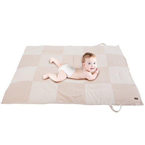 Review Of Premium Baby Play Mat - 100% Un-Dyed Organic Cotton Children's Floor Playmat with Carry Ba...