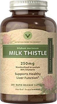Vitamin World Milk Thistle Silymarin Standardized Extract, 200 Count