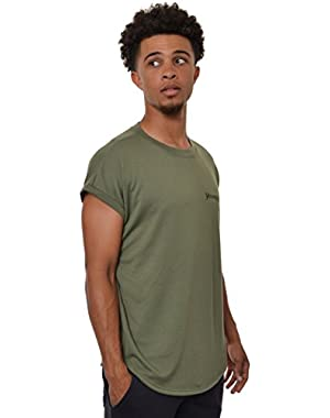 Mens Casual Shirt Sleeveless Muscle Gym Lightweight Drop Shoulders Longline Elongated