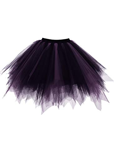 (Emondora Retro Short Tutu Skirt Petticoat Adult Fluffy Party Multi-colored Ballet Costume Black/Purple Size)