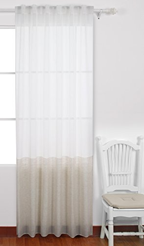 Deconovo Rod Pocket Curtain Decorative Patchwork Sheer Voile Curtain Weaved Faux Linen Back Tab Sheer Curtain for Nursery Room 52 x 84 Inch Linen Color 1 Panel (Tab Back Sheers)