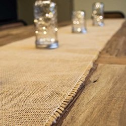 Burlap Table Runner With Fringed Edge, 12.5 X 96 Inches, Natural