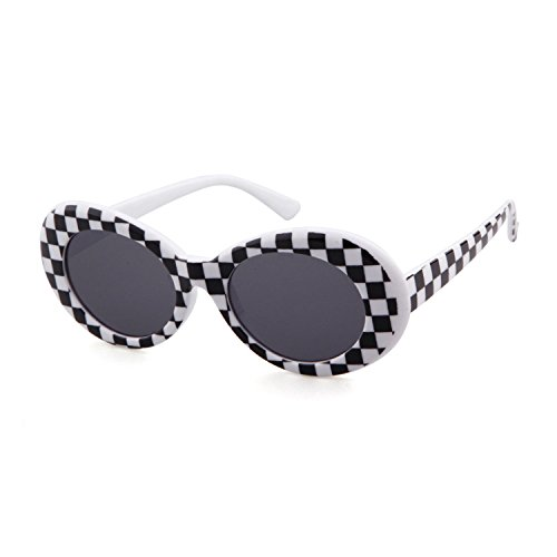 Clout Goggles Oval Sunglasses Mod Style Retro Thick Frame Kurt Cobain Inspired Sunglasses With Round Lens Vintage (Checkered...