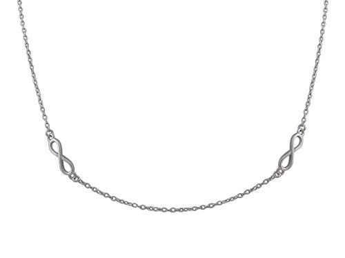 Veuer Chain Made of 925 Silver Rhodium Plated Jewellery For Women's Necklace with Pendant Made From Real Silver – Necklace with 4 Nitys Infinity – VF594 Gift for Women
