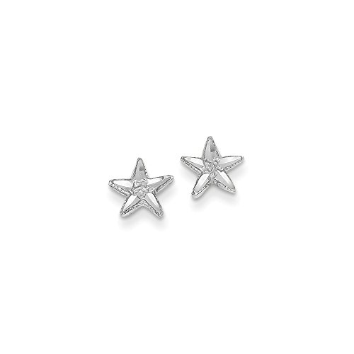 14k White Gold Starfish Earrings 8x8 mm
