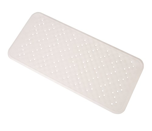 "Exerz Anti Slip Safety Bathtub Mat 13.4"" x 29"" - Non Slip Natural Rubber - Use in Bathtub, Bathroom, Shower Room - for Children, Elderly, Baby, All Family Members Skid Proof - White"