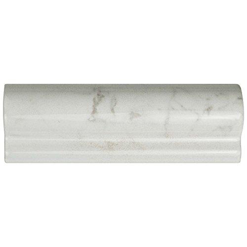 Tile Chair Rail Ceramic (SomerTile WEQCRGLC Murmur Carrara London Chair Rail Ceramic Wall Trim Tile, Glossy, 2