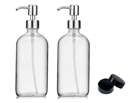 2-Pack Soap Hand Dispenser Glass Bottles Stainless Steel Pumps (16-Oz) Great for Essential Oils, Lotions, Liquid Soaps - Clear Boston Round