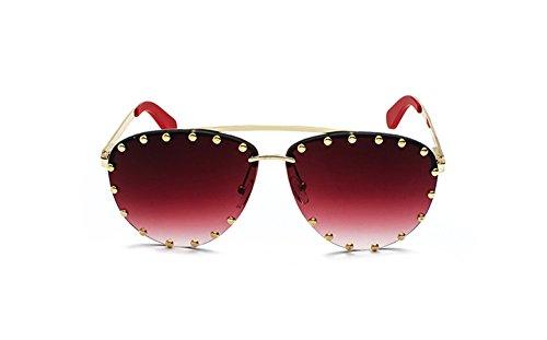 de sol Borde vintage gato oro de azul roja de gafas señoras de de gafas de oro color tintado mujer lente de cristalino borde lentes ojo DESESHENME Gafas tonalidades para nvqUxA