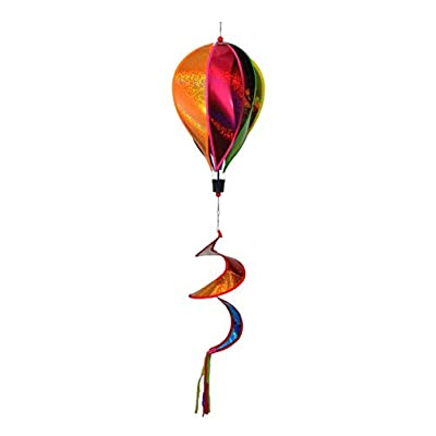 WorldaWhirl Hot Air Balloon Wind Spinner, 6 Colored Sparkle PVC Panels Fiberglass Reinforced with Curled Tail and Swivels: Garden & Outdoor