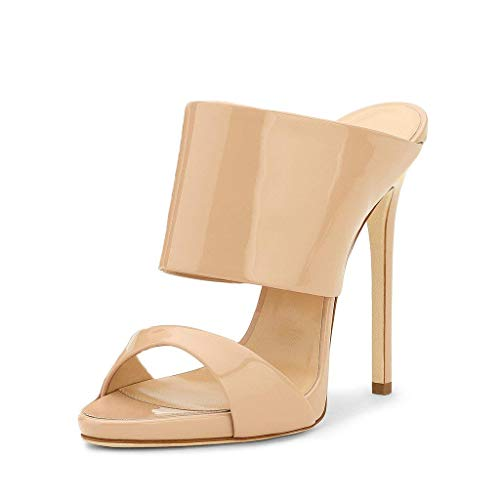 FSJ Women Versatile Open Toe High Heel Mules Backless Shoes Feminine Slingback Stiletto Slide Sandals Slip on Slipper Size 4-15 US