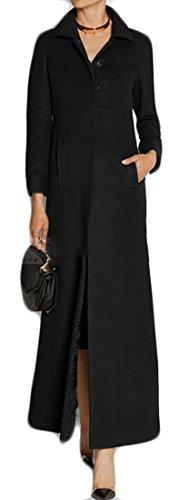 Cruiize Womens Three Button Warm Outwear Wool Blend Thick Maxi Jacket Pea Coat Black Medium