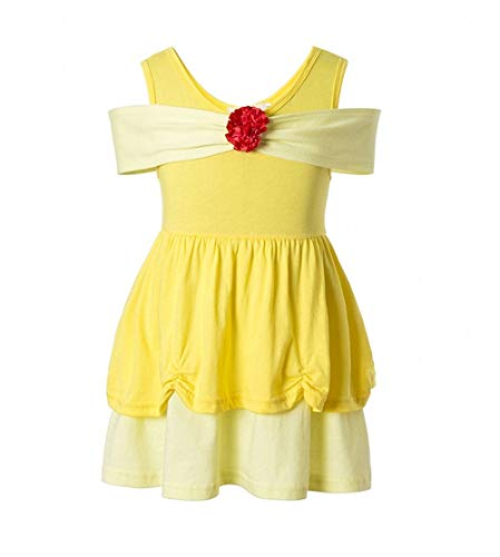 Girls' Belle Princess Costume Girls Princess Belle Yellow Party Costume Off Shoulder Dress Beauty and The Beast Costume (Yellow, 5-6T) ()