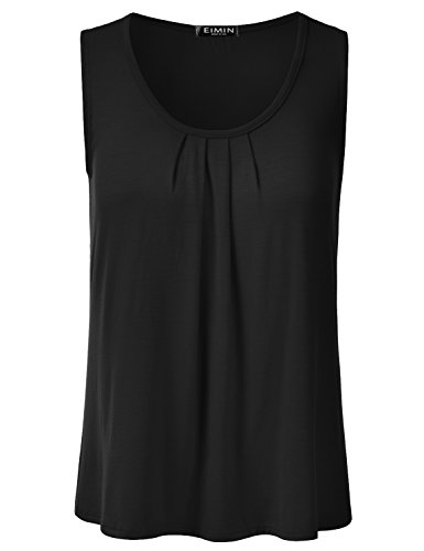 - EIMIN Women's Pleated Scoop Neck Sleeveless Loose Fit Basic Soft Tank Top Black 3XL