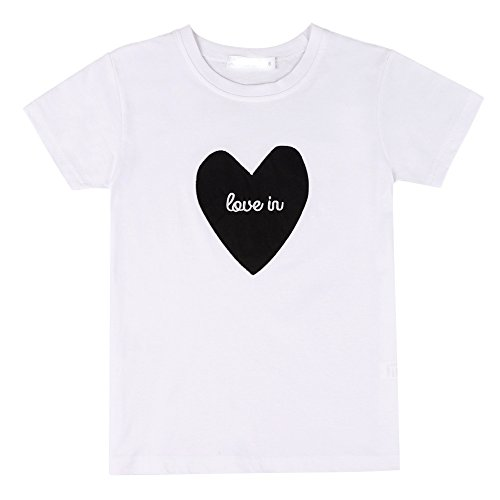 Qlan sommerstil Kurzarm-Herz T-Shirt für Mutter und Vater Sohn Tochter Kinder