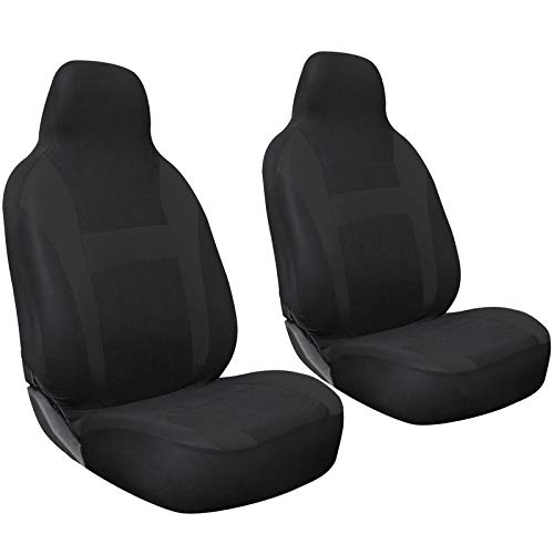 Motorup America Auto Seat Cover 2pc Set Intergrated High Back Buckets - Fits Select Vehicles Car Truck Van SUV - Solid Black