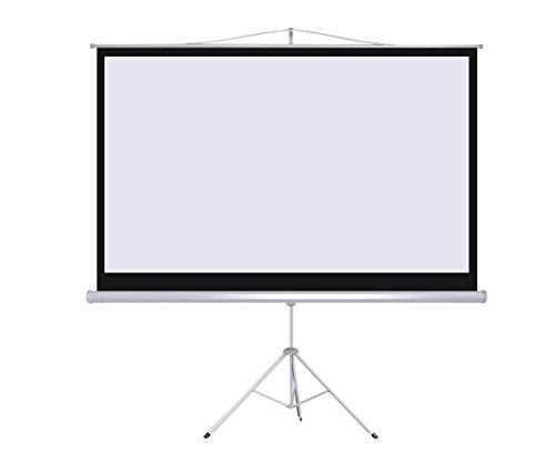 Projector 16:9 Projection Screen Tripod Pull-up Matte White, Adjustable Height Portable Manual Pull Up HD Projection Screen with Stand for Home Theater Outdoor Indoor ()