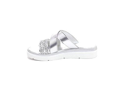 Susimoda scarpa donna, pantofola 1539/6, pelle platino E7102