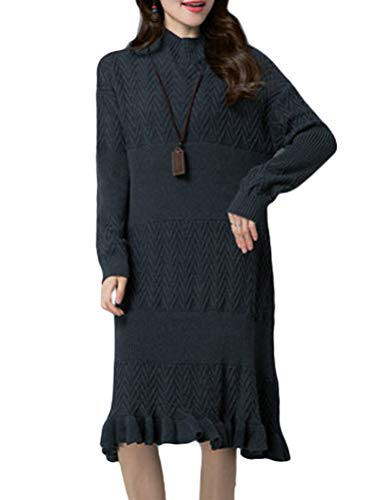 Mordenmiss Women's Mock Neck Sweater Cable Knit Flared Long Pullovers Ruffle Hemline Midi Dress L Dark Gray