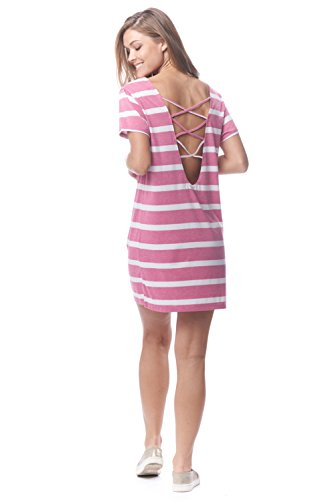 6f89716ad9 Lagaci Women's Striped Beach Cover Up Dress with Interlaced Back L Rose