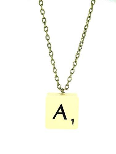 Fallen Saint Letter A Vintage Scrabble Tile Necklace Gift Boxed (Necklace Scrabble Letter)